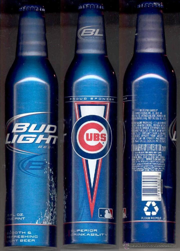 BOTELLA ALUMINIO CERVEZA BUD LIGHT CUBS. USA (Coleccionismo   Botellas Y  Bebidas   Cerveza