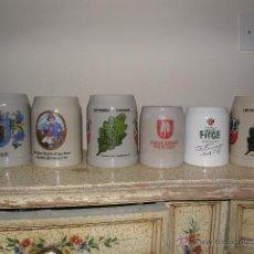 Coleccionismo de cervezas: LOTE DE 6 JARRAS DE CERVEZA ALEMANAS DE CERÁMICA. Lote 40622465
