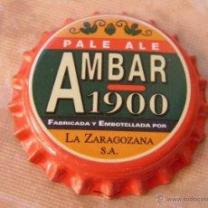 Coleccionismo de cervezas: CHAPA CERVEZA AMBAR 1900. LA ZARAGOZANA. NUEVA, SIN CERRAR.----LOTE N. 2015----CARMANJO. Lote 40655469