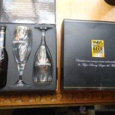 Coleccionismo de cervezas: MAGNIFICA COLECCION DE CERVEZA CRUZCAMPO BOTELLIN CON DOS COPAS, ETIQUETA NEGRA - GRAN RESERVA. Lote 113832979