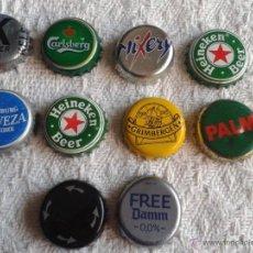 Coleccionismo de cervezas: LOTE DE 10 CHAPAS DE CERVEZAS DEL MUNDO. ESTAN NUEVAS PRACTICAMENTE TODAS. LOTE 3. Lote 41640495