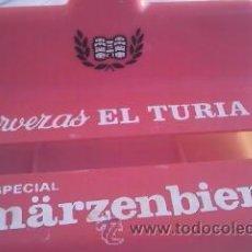 Coleccionismo de cervezas: ANTIGUO SERVILLETERO DE CERVEZA EL TURIA ESPECIAL MARZENBIER.. Lote 42509757
