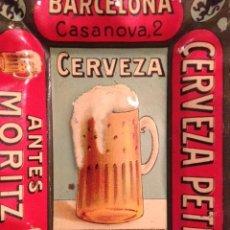 Coleccionismo de cervezas: CENICERO CHAPA LITOGRAFIADA, PUBLICIDAD, CERVEZA PETRY ANTES MORITZ, BARCELONA. Lote 45125182