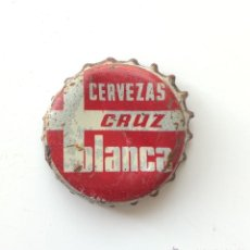 Coleccionismo de cervezas: ANTIGUA CHAPA CORONA DE CERVEZA LA CRUZ BLANCA - CON CORCHO EN EL INTERIOR. Lote 45991623