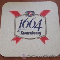 Coleccionismo de cervezas: POSAVASOS CERVEZA KRONENBOURG 1664. Lote 46616106