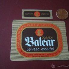 Coleccionismo de cervezas: ANTIGUA ETIQUETA CERVEZA DORADA BALEAR CERVEZA ESPECIAL 33CL PALMA DE MALLORCA NUEVA SIN USAR. Lote 46892918