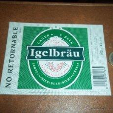 Coleccionismo de cervezas: ANTIGUA ETIQUETA CERVEZA IGELBRAU ESPAÑA VALENCIA NO RETORNABLE 100CL NUEVA SIN USAR. Lote 47034118