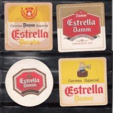 Coleccionismo de cervezas: 4 POSAVASOS DIVERSOS EN CARTON DURO DE ESTRELLA DAMM. Lote 47110702