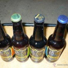 Coleccionismo de cervezas: CAJA CON 4 BOTELLAS 33CL DE CERVEZA ARTESANA, CERBERUS DISTINTAS, LLENAS CON CHAPA TAPON CORONA,. Lote 47728763