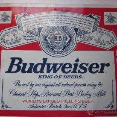 Coleccionismo de cervezas: CARTEL PUBLICITARIO EN CHAPA DE CERVEZA BUDWEISER. Lote 48612911