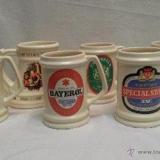 Coleccionismo de cervezas: LOTE DE 6 JARRAS DE CERVEZA DE COLECCION. Lote 49660638