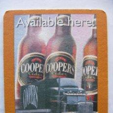 Coleccionismo de cervezas: POSAVASO POSAVASOS CERVEZA COOPERS. AVAILABLE HERE. GREAT TASTE ALWAYS COMES THROUGH (DOBLE CARA). Lote 50251332