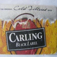 Coleccionismo de cervezas: POSAVASO POSAVASOS CERVEZA CARLING. BLACK LABEL. THE ORIGINAL COLD FILTERED BEER.. Lote 50251791