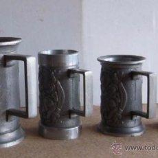 Coleccionismo de cervezas: COLECCION DE CUATRO JARRAS DE CERVEZA METALICAS. Lote 50432077