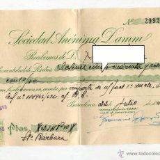 Coleccionismo de cervezas: DAMM SOCIEDAD ANONIMA ANTIGUO RECIBO DE COBRO CON SELLOS JULIO DE 1953 MEDIDAS 20 X 14,5 CMS. Lote 50922673
