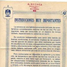 Coleccionismo de cervezas: CERVEZA EL AGUILA. INSTRUCCIONES MUY IMPORTANTES. MADRID. CACERES. Lote 51152788