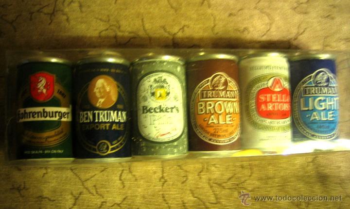 Coleccionismo de cervezas: 6 latitas mini -coleccion de cervezas-Bodegas Garcés- Málaga- - Foto 2 - 52803099