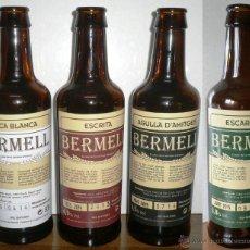 Coleccionismo de cervezas: LOTE DE 4 BOTELLAS VACÍAS Y SIN CHAPA (TAPÓN CORONA),DE CERVEZA BERMELL.. LAS CUATRO DISTINTAS. Lote 53452284