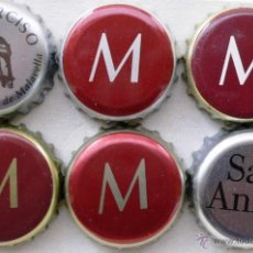 Coleccionismo de cervezas: LOTE 6 CHAPAS AGUA DISTINTAS. 4 MALAVELLA 1 SAN NARCISO 1 SANT ANIOL. Lote 53750725
