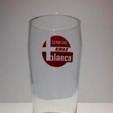Coleccionismo de cervezas: ANTIGUO VASO DE CERVEZA * LA CRUZ BLANCA * TIPO BARRILETE SERIGRAFIADO. Lote 54330947