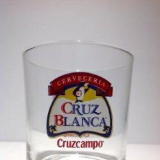 Coleccionismo de cervezas: ANTIGUO VASO DE CERVEZA * LA CRUZ BLANCA * SERIGRAFIADO. Lote 54340099