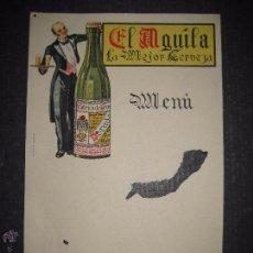 Coleccionismo de cervezas: CERVEZA EL AGUILA - MENU - DIBUJO BOTELLA MUY ANTIGUA - VER FOTOS - (V-4503). Lote 54611400