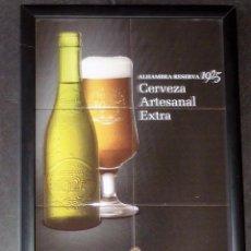 Coleccionismo de cervezas: GRAN CARTEL CERVEZA ALHAMBRA RESERVA 1925 . HECHO CON AZULEJOS ENMARCADOS 43 % 32 CM . Lote 55013675