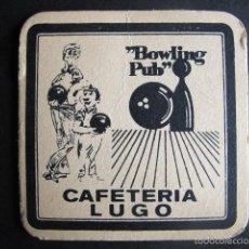 Coleccionismo de cervezas: POSAVASOS ANTIGUO CAFETERIA LUGO BOLERA AÑOS 60. Lote 55119535