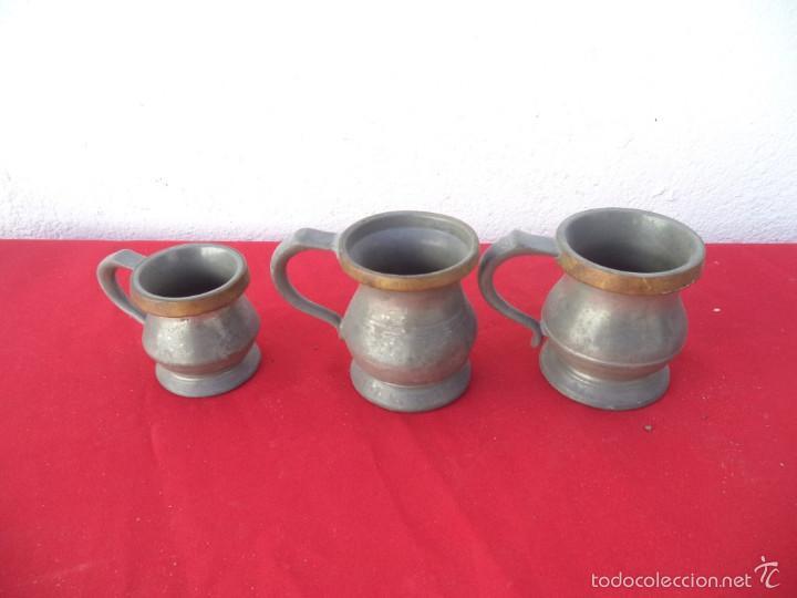 3 JARRAS DE ESTAÑO (Coleccionismo - Botellas y Bebidas - Cerveza )