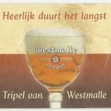 Coleccionismo de cervezas: POSAVASOS CERVEZA TRAPENSE TRIPELVAN WESTMALLE - BELGICA. Lote 55867848