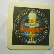 Coleccionismo de cervezas: POSAVASOS CARTON DURO IMPRESO DOS CARAS BINDING LAGER. Lote 55887450