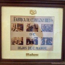 Coleccionismo de cervezas: ANTIGUO CUADRO FOTOGRAFIAS FABRICA DE CERVEZA Y HIELO MAHOU . COLECCION FOTOGRAFICA . MARCO MADERA. Lote 56180769