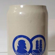 Coleccionismo de cervezas: JARRA PAULANER MÜNCHEN DE CERAMICA ESMALTADA. SIGLO XX.. Lote 56566114