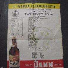 Coleccionismo de cervezas: CARTEL CERVEZA DAMM - ESTRELLA DORADA - MARXA CICLOTURISTA 1985 - MIDE 35 X49 CM- (V-5566). Lote 56799708