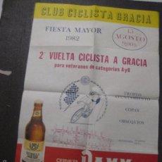 Coleccionismo de cervezas: CARTEL CERVEZA DAMM - ESTRELLA DORADA- CLUB CICLISTA GRACIA 1982 - MIDE 40 X60 CM- (V-5567). Lote 56799764