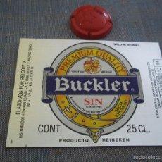 Coleccionismo de cervezas: ETIQUETA CERVEZA BUCKLER SIN POR HEINEKEN 25 CL CAD 93-94 MODELO 4 NUEVA SIN USAR. Lote 58184310