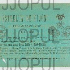 Coleccionismo de cervezas: ANTIGUA PUBLICIDAD CERVEZA LA ESTRELLA DE GIJON. ASTURIAS. CIRCA 1900. ORIGINAL. Lote 58236183