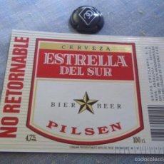 Coleccionismo de cervezas: ANTIGUA ETIQUETA CERVEZA ESTRELLA DEL SUR 100 CL NO RETORNABLE GRUPO CRUZCAMPO CADUCIDAD 96-97. Lote 58260204