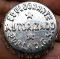 Coleccionismo de cervezas: CHAPA ANTIGUA DE EDULCORANTE AUTORIZADO POR LA D.G.S. CON CORCHO.. Lote 59964831