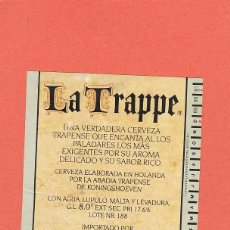 Coleccionismo de cervezas: ETIQUETA CERVEZA LA TRAPPE. Lote 61580884