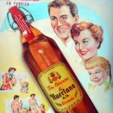 Coleccionismo de cervezas: CARTEL PUBLICIDAD, PINTADO A MANO, PINTURA ORIGINAL, CERVEZA LA HUERTANA VALENCIA. Lote 65863678