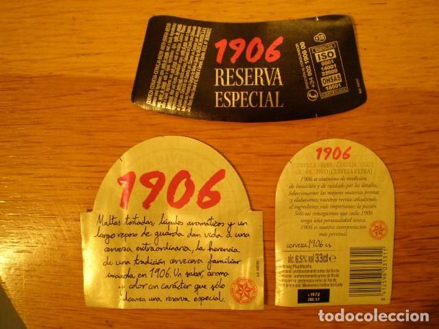 ESTRELLA GALICIA 1906 * LOTE ETIQUETAS DELANTERA, TRASERA Y CUELLO (33 CL) (