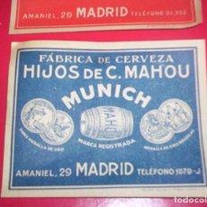 Coleccionismo de cervezas: LOTE 2 ETIQUETAS MAHOU ANTIGUAS CERVEZA MADRID AZUL Y ROJA. MUNICH Y PILSEN. TAMBIEN SUELTAS.. Lote 67335213