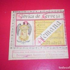 Coleccionismo de cervezas: ETIQUETA CERVEZA EL AGUILA DE MADRID MUY ANTIGUA Y RARA C.1920. Lote 67337353