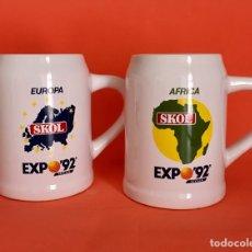 Coleccionismo de cervezas: 2 JARRAS CERVEZA SKOL EUROPA Y ÁFRICA EXPO SEVILLA 92. Lote 56093948