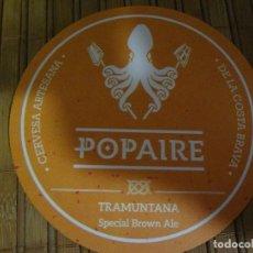Coleccionismo de cervezas: POSAVASOS POPAIRE CERVEZA ARTESANAL. Lote 184335102