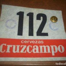 Coleccionismo de cervezas: ANTIGUO DORSAL HILO ALGODON CARRERAS DISTRIBUIDOR CERVEZAS CRUZCAMPO. Lote 75696955