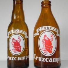 Coleccionismo de cervezas: CERVEZA CRUZCAMPO QUINTO Y TERCIO BIEN CONSERVADOS. CERVEZAS. LA CRUZ DEL CAMPO . Lote 78472437