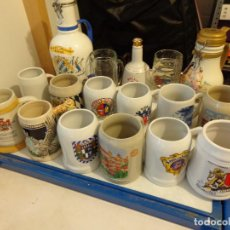Coleccionismo de cervezas: ¡¡¡ LOTE DE 14 JARRAS DE CERVEZA DE CERÁMICA DE ALEMANIA + BOTELLAS !!!. Lote 80369741