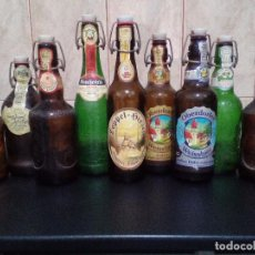 Coleccionismo de cervezas: LOTE 9 BOTELLAS CERVEZA VARIADAS CON TAPON MUELLE - OBERDORFER, FISCHER, RAUCHENFELS, GROLSCH, ETC... Lote 81648208